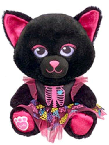 Build a Bear Buddies Mini Lucky Black Kitty Spider Web Halloween Costume 7 in. Stuffed Toy Animal Set