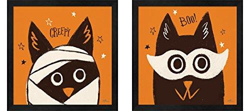 Spooktacular B by Janelle Penner, 2 Piece Black Framed Art Set, 13 X 13 Inches Each, Halloween Art ()