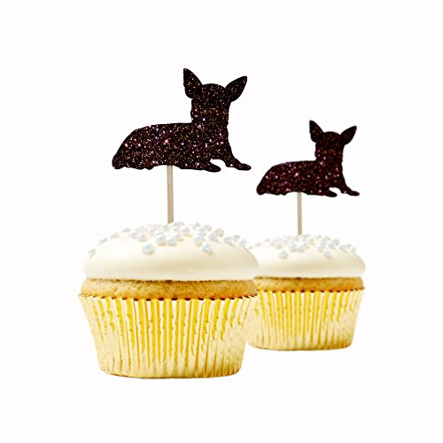 Chihuahua Cupcake Topper Glitter Foamy Brown Color 12 pieces per Pack Decoration pet birthday