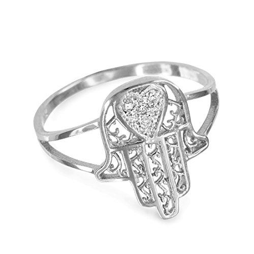 10k White Gold Diamond Pave Heart Filigree Hamsa Ladies Ring (Size ()