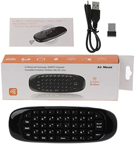 Color: Portuguese Calvas Russian English Spanish French C120 Fly Air Mouse 2.4G Mini Wireless Keyboard Rechargeable Remote Control For Android TV Box PC