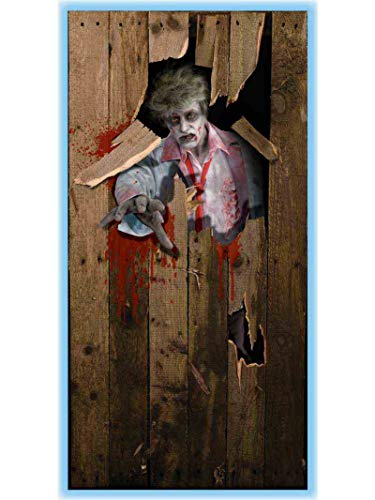 Halloween Door Decoration Ideas Dorm (Forum Novelties Photo-Realistic Zombie Door Cover,)