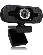 1080p webcam met microfoon, Full HD 1080p / 30fps videogesprekken, heldere stereo-audio, voor desktop-pc, MAC, laptop, streaming van webcamPlug en Play webcam voor YouTube, videogesprekken, studeren, conferentie
