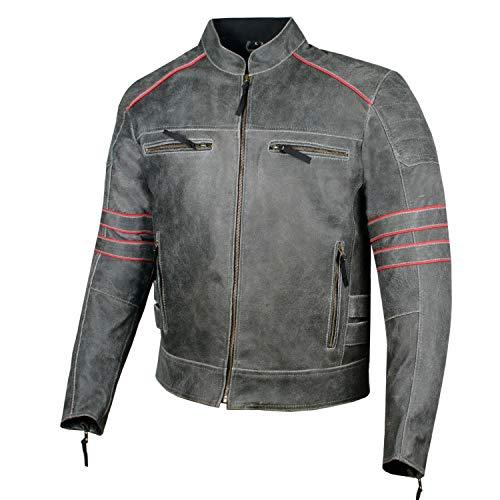 Men's Brotherhood Classic Leather Motorcycle Distressed Armor Biker Jacket M (Jacket Leather Cowhide Biker)