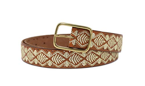Lucky Brand Women's Metallic Leaf Embroidered Leather Belt (X-Large)