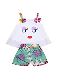2 Pcs Baby Girls Lovely Eyes Lips Halter Sleeveless Shirt + Floral Shorts Pants Clothing Sets