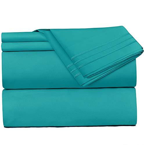 - Mikash 4 Piece Sheet Set - 1800 Deep Pocket Bed Sheet Set - Hotel Luxury Double Brushed Microfiber Sheets - Deep Pocket Fitted Sheet, Flat Sheet, Pillow Cases, King - Teal | Model SHTST - 186