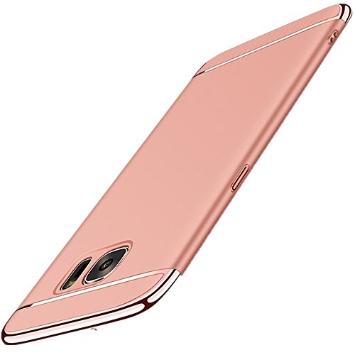 Galaxy S6/S6 Edge Case Slim Cover Anti-Scratch Protection 3 in 1 Hard Mobile Phone Ultra with Electroplate Frame for Full Protective Samsung Galaxy S6 Edge Plus 360 Coverage (S6 Edge Plus, Rose Gold)