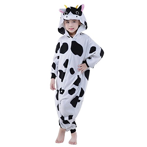 [Newcosplay Children Fleece Pajamas Unisex Cartoon Costume (125, Cow)] (Animals Dressed Up In Halloween Costumes)