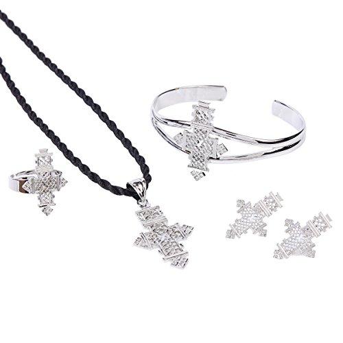 Ethiopian Cross Jewelry Silver Plated Habesha Jewelry Wedding Four PCS Sets