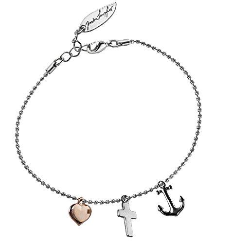 Mini-Armband Glaube Liebe Hoffnung, tricolor, Oberflächenveredlung Armband:Versilbert (Hochglanz)