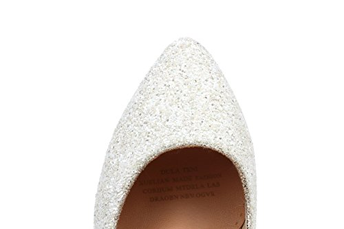 Heels Pumps Women's Kitten Shoes Toe Material Pointed PU Soft White 38 Closed WeiPoot 8q0Azz