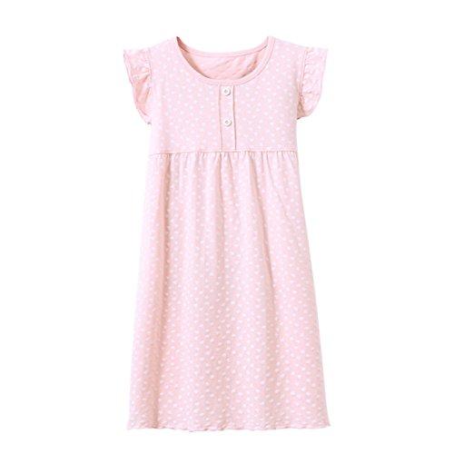 KINYBABY Girls Princess Nightgowns Heart Pattern Sleepwear Cotton Nightdress Sleep Shirts