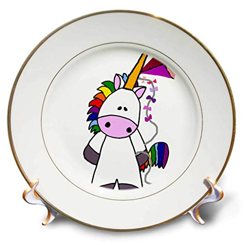 - 3dRose All Smiles Art - Dragons and Unicorns - Cute Funny Cool White Unicorn Flying Kite Cartoon - 8 inch Porcelain Plate (cp_299872_1)