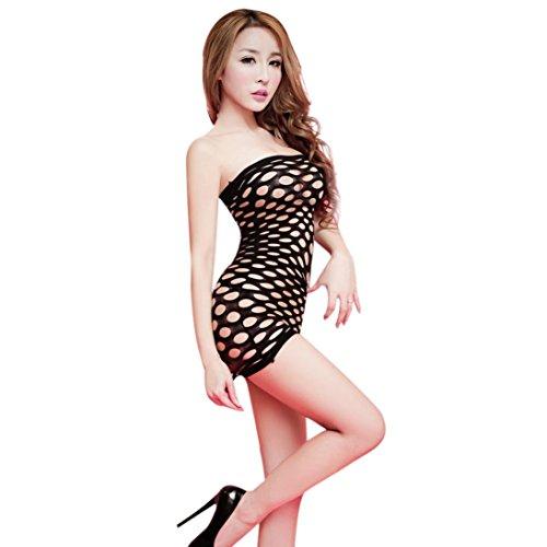 Sunnywill Frauen Dessous aushöhlen Stück figurbetonten Kleid (Schwarz)