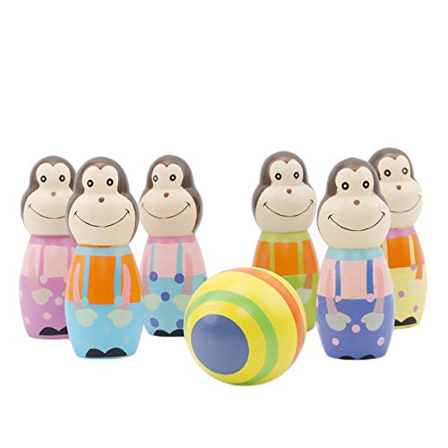 Potelin Premium Kids Baby Sporting Wooden Monkey Bowling Ball Game Interactive Puzzle Toy Set