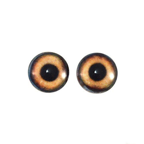 14mm Brown Dog Glass Eyes Fantasy Taxidermy Art Doll Making or Jewelry Cabochon Crafts Set of 2 -