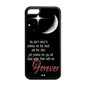 LJF phone case LeonardCustom Protective Hard Snap On TPU Rubber Phone Case for iPhone 5C , Love Quote I Love You to The Moon and Back