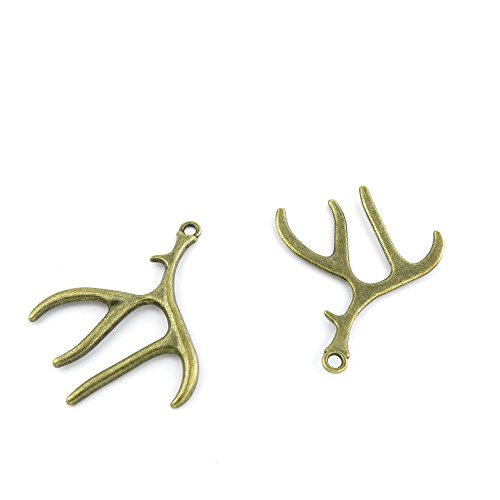 - 40 PCS Ancient Antique Bronze Fashion Jewelry Making Crafting Charms Findings Bulk for Bracelet Necklace Pendant Retro Accessoires Lots Vintage 060994 Antlers
