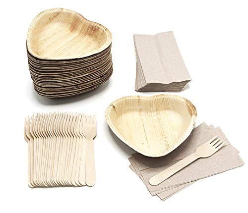 (25 Heart Shaped Palm Leaf Plates Set with forks and napkins - Disposable Eco-Friendly Special Occasion Party Supply - I Love You Food Serving Idea)
