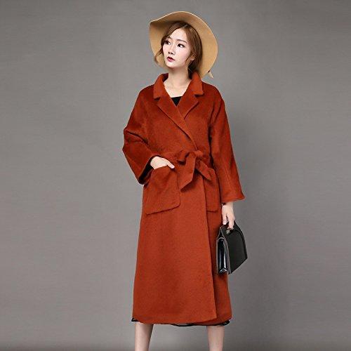 Pour Sishuinianhua Taille Femme Manteau Laine À Mode Couleur Xl En Col Pure Orange Épissée Boutonné Grande Veste Ample wrqxEFCw
