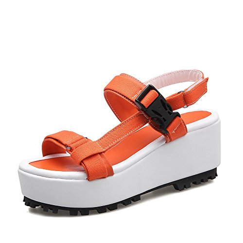 AllhqFashion Damen Haken-und-Loop Offener Zehe Mittler Absatz Blend-Materialien Sandalen Orange