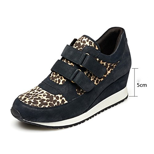 KHSKX-Autumn Women'S Casual Flat Shoes, High Shoes, Single Shoes, Frosted, Deep Round, Round Head, Leopard Shoes, Sports Shoes blue