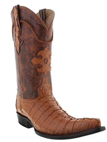 El Presidente Men's Cognac Genuine Crocodile Tail Skin Cowboy Boots 3X Toe 8.5 E (Alligator Skin Boots Cowboy)