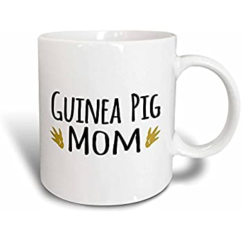 3dRose Mug Guinea Pig Mom - for pet owners - cavy rodent family pets - with brown  paw prints - footprints (mug_154048_3) - 11oz - Transforming, Black/White
