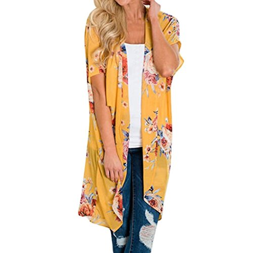 DEATU Fashion Womens Chiffon Batwing Sleeve Shawl Print Kimono Cardigan Top Cover Up Blouse Beachwear(Yellow ,Size L) from DEATU
