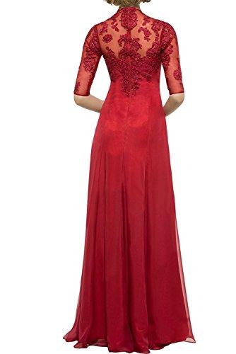 Abendkleider Partykleider Langarm Festlichkleider Spitze mia Promkleider Violett Damen Lang Braut Gruen La Brautmutterkleider SxB8q