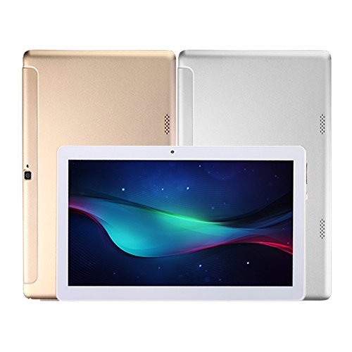 10.1 inch Tablet Octa Core 2560X1600 IPS Bluetooth RAM 4GB ROM 64GB 8.0MP 3G MTK6592 Dual sim card Phone Call Tablets PC Android 6.0 Marshmallow GPS electronics 7 8 9 10 (silver) by Ku bi