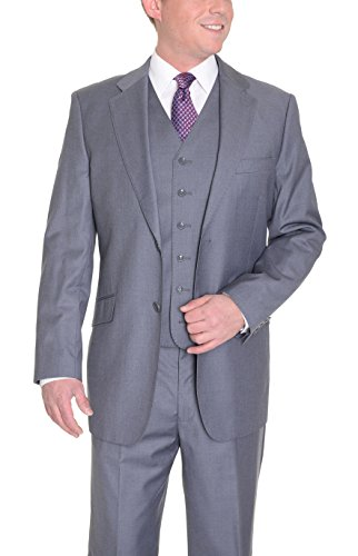 Charcoal Super 150's Wool Suit (Classic Fit Solid Charcoal Gray Two Button Three Piece Super 150's Wool Suit)