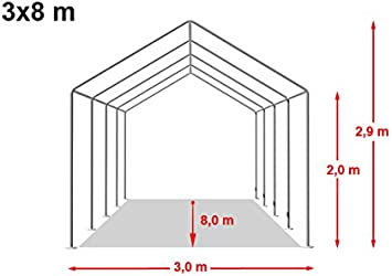 TOOLPORT Carpa de almacén 3x8m Carpa de pastoreo con 500g/m² de Lona PVC Impermeable Blanca: Amazon.es: Jardín