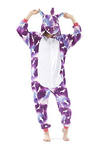 Adult Pajamas Unisex Sleepsuit Animal Sleepwear Jumpsuit Halloween Cosplay Costume (M (Height 161-170 cm), Purple C)]()