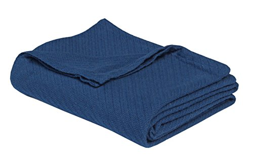 Cotton Craft - 100% Soft Premium Cotton Thermal Blanket - King Navy - Snuggle in These Super Soft Cozy Cotton Blankets - Perfect for Layering Any Bed - Provides Comfort -