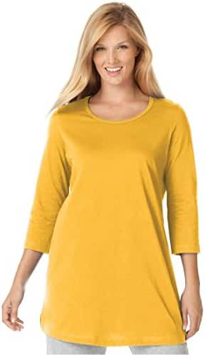 Women's Plus Size Perfect Knit Tunic Shirt In Pure Cotton With Scoop Neck, 3/4