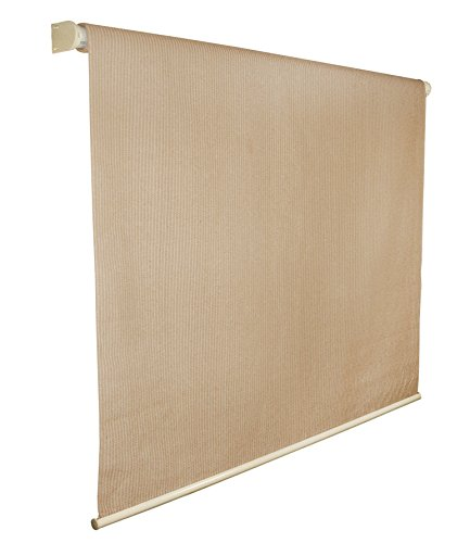 Coolaroo Outdoor Shade - Coolaroo Exterior Roller Shade, Cordless Roller Shade with 80% UV Protection, No Valance, (4' W X 6' L), Almond