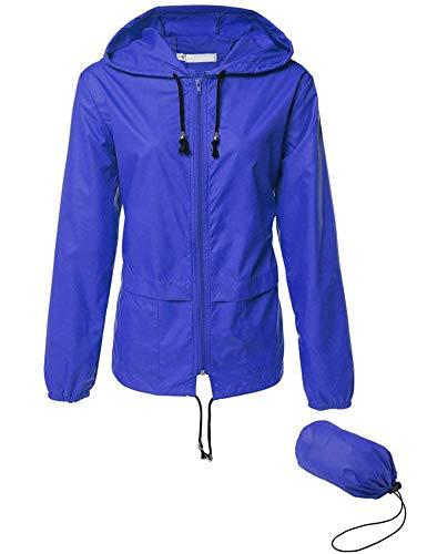 Womens Hiking Rain Jacket Waterproof Lightweight Packable Windbreaker Jacket Blue - Back Cape Zip