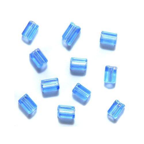 Preciosa Ornela Czech Flat Rectangle Bugle Glass Bead, 3-1/2 by 5mm, Aurora Borealis, Transparent Sapphire, 195 gm/pack