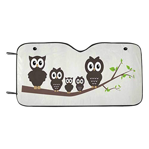 Sweet Branch (INTERESTPRINT Sweet Owl Family Sitting on Branch Car Front Window Shade Folding Accordion for Windshield)
