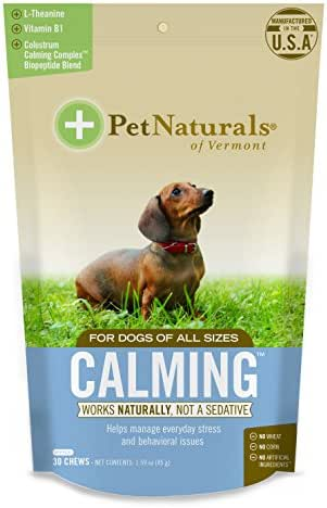 Pet Naturals of Vermont - Calming for Dogs, Natural Behavior Support for Stress Inducing Events, 30 Bite-Sized Chews Includes Naturally Sourced Anxiety Calming Ingredients