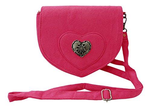Elegante Trachtentasche im Wildleder-Look - Dirndltasche mit Herz Edelweiss Applikation fürs Dirndl (pink)