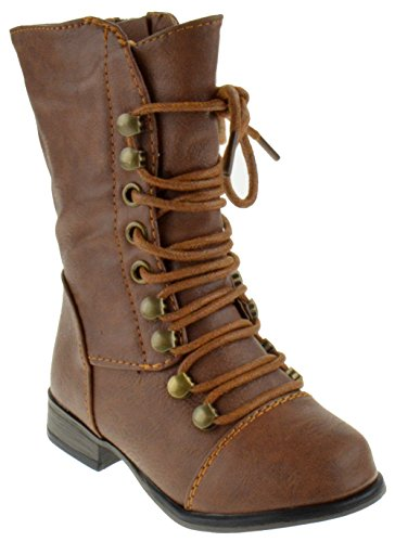 Forever Link Legend-15KA Baby Girls Combat Lace Up Boots Tan 5 Toddler