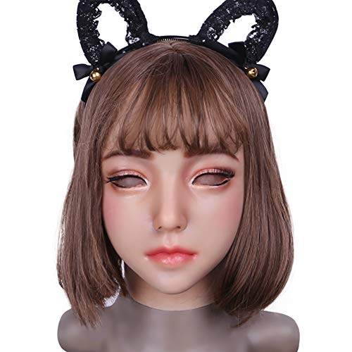Realistic Silicone Female Mask Mouth Openable for Crossdresser Masquerade Pseudo Street Cosplay Drag Queen Crossdressing -
