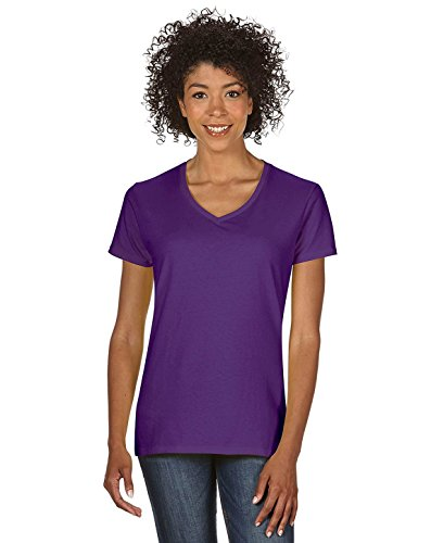 Gildan Heavy CottonTM Ladies' 5.3 oz. V-Neck T-Shirt, 3XL, PURPLE (Heavyweight V-neck T-shirt)