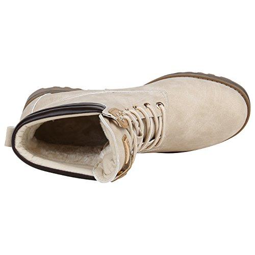 Berkley Warm Worker Creme Stiefelparadies Gefüttert Damen Boots Stiefeletten Flandell g1Ew8qO