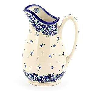 Polish Pottery, Handpainted and Handcrafted Water or Juice Jug 1.7L ― Small Blue Flowers Pattern (U453)
