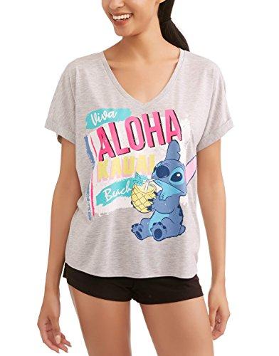 Aloha Breeze Fan - Womens Juniors Lilo & Stitch Viva Aloha Kauai Beach Sleep Shirt Pajama Top X-Small