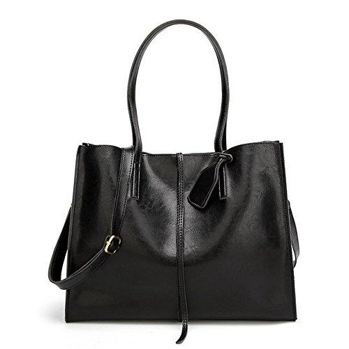 Allhqfashion Women's Fashion Pu-style Tote Bags Traveling Crossed Black Shoulder Bags